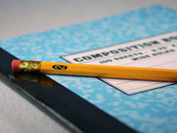 a pencil lying on a blue notebook aided by the term