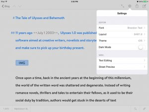 Ulysses for iPad options